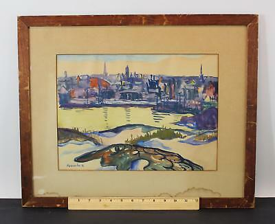 Antique LOUISE BRUMBACK Impressionist Gloucester MA Harbor Watercolor Painting