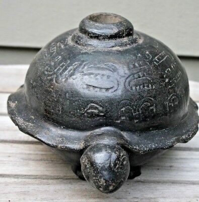 Chimu Black Pottery ? Turtle Peru ? Pre Columbian Mayan ? Antique Mexican Signed