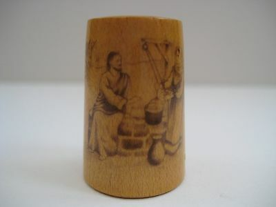 Vintage wooden thimble, hand decorated, Bible scenes thimble, Jesus