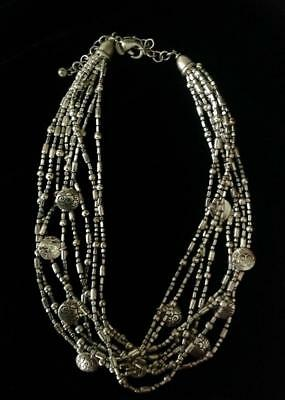 CHICO'S 8 Strand Silver Tone DIsc Torsade Necklace Great Looking Piece!