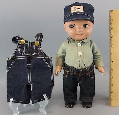 Vintage 1950s Buddy Lee Blue Jeans Advertising Composition Doll Overalls & Hat