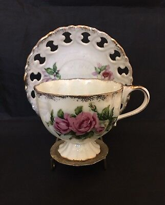 Vintage Iridescent Footed Teacup And Reticulated Saucer Pink Roses