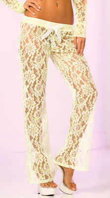 Sheer Lacey Floral Pants, Pajamas For Women