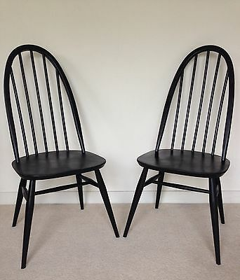 Pair of Mid Century Vintage 1960s Ercol Quaker Dining Chairs - Black