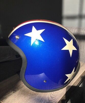 """AMD Vintage Style Motorcycle Open Face Size Large """"Captain America"""" Helmet NEW"""