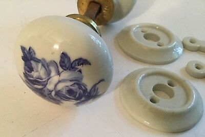 Antique Pair White Porcelain Blue Floral Design Door Knobs with Key Covers