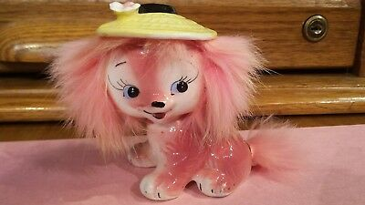 Vintage 1959 Pink Puppy Dog Figurine Big Eyes Fur Bradley California Creations