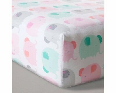 Cloud Island Fitted Crib Sheet, Elephant Parade, Pink