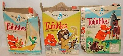 VINTAGE 1950s GENERAL MILLS TWINKLES CEREAL BOXES w/ ANIMAL CARTOON CHARACTERS