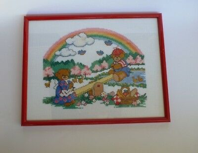 Stitched Artwork Painting Framed Teddy Bears