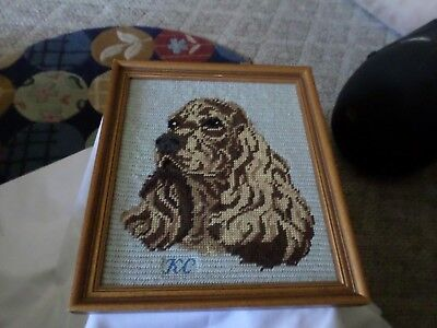 Vintage Needlepoint Picture Of Cocker Spaniel