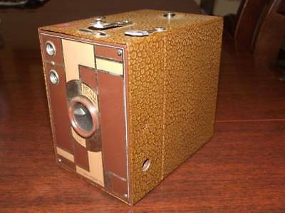 Beautiful Kodak No. 2 Beau Brownie Art Deco Box Camera Brown/tan - Walter Teague