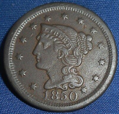 1850 Braided Hair Large Cent, Nice Detail...99 auction start...