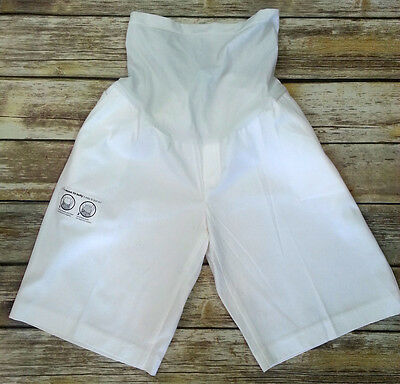"MOTHERHOOD MATERNITY White Cotton/Spandex Shorts ""Secret Fit Belly"" Large NWT"