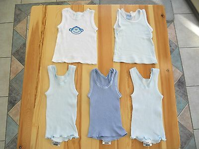 5 boys singlets size 000 white blue Cheeky monkey Bonds Disney Baby Essentials