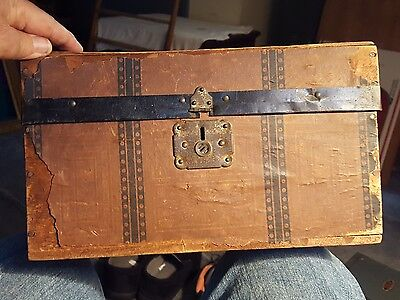 "Antique Late 1800s Child's Wood  Doll Trunk Paper Covered Neat! 12"" wide"