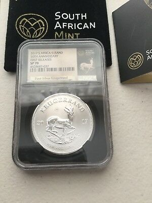 2017 South Africa 1 oz Silver Krugerrand NGC SP70 First Releases Black Core