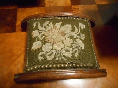Antique Needlepoint Foot Stool Carved Wood