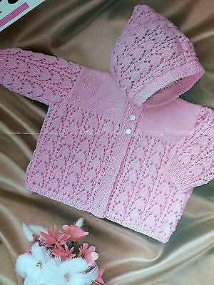 Baby Knitting Pattern Copy Lacy HOODED Jacket in 4 Ply