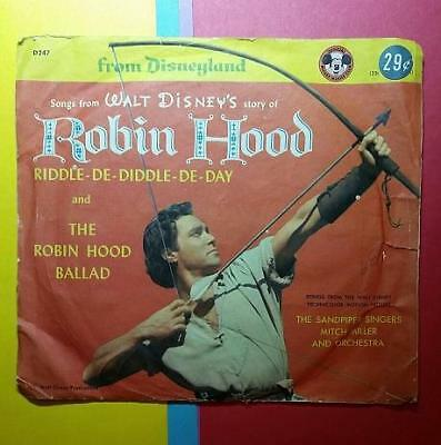 VINTAGE 1960's DISNEYLAND RECORDS RECORD - THE STORY of ROBIN HOOD - RIDDLE DE D