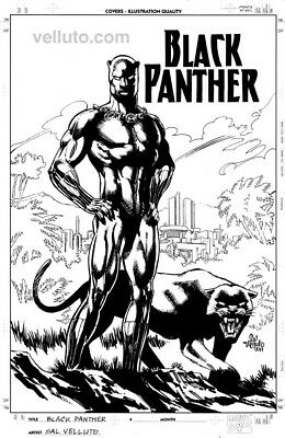 Marvel's BLACK PANTHER unpublished cover #2/ Art by SAL VELLUTO