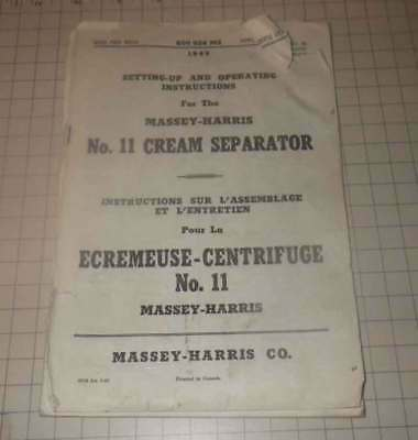 1949 Massey Harris No. 11 Cream Seperator manual.  English and French.