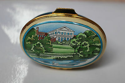 Halcyon Bilston Crummles large Oval enamel box The River Dee Chester ExC England