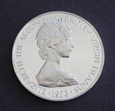 Large Silver Crown British Virgin Islands Proof 1973 Dollar KM# 6a
