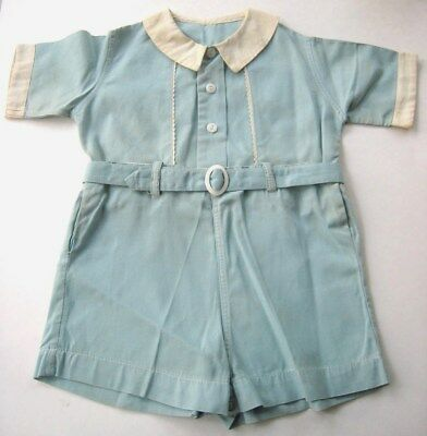 Vintage 1930's-40's Boy's Blue Romper  Jumpsuit 2 Piece W/Belt