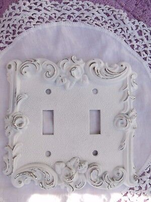 Shabby Chic Vintage Rose Motif Metal Double Switch Plate Cover Chippy Paint