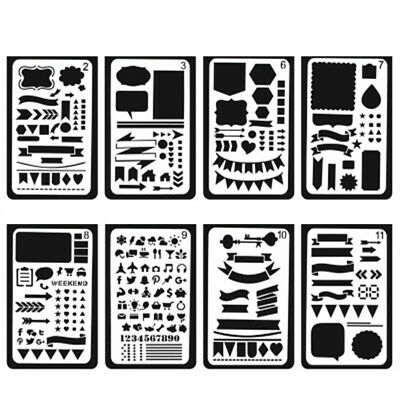 12pc Journal Plastic Planner DIY Stencils Notebook/Diary/Scrapbook Scrawl Scribe