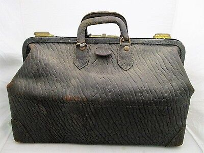 "Large Vintage Antique Walrus Leather Doctors Medical Bag 18"" Steampunk"