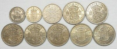 Lot Of 10 UK(Great Britain) Coins, Including 7 Half Crowns(1947 - 1954)