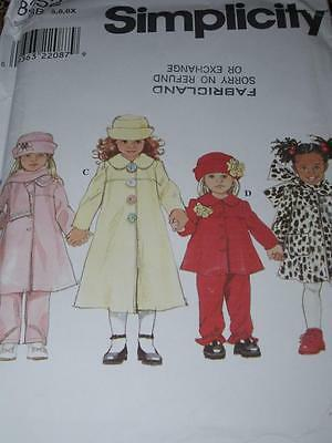 Simplicity #8352 - Girls Coat - Jacket - Pants - Scarf & Hat Pattern  5-6X  Ff