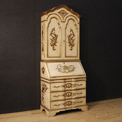 Trumeau lacquered furniture double body cupboard bureau dresser desk secretaire