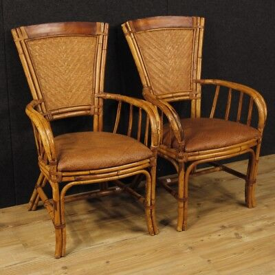 Pair of armchairs design furniture wood bamboo living room chairs seats wicker