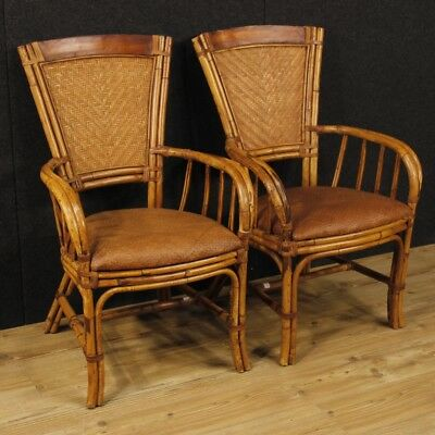 Pair of design armchairs furniture bamboo wood living room chairs seats wicker