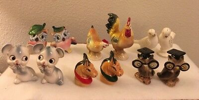 Vintage Salt & Pepper Shakers Lot of 6 Sets Various Animal Figures. JAPAN