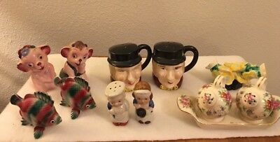 Vintage Salt & Pepper Shakers Lot of 6 Various Animal And People  Japan
