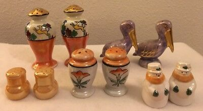 Vintage Lusterware Salt & Pepper Shakers Lot of 5 Japan