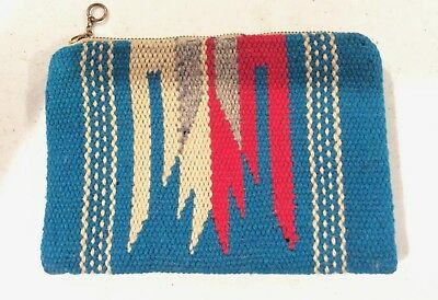 Chimayo Purse Clutch Vintage Blue Wool New Mexico Native