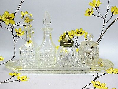 Vintage cut & pressed crystal glass CONDIMENT POT and BOTTLE SET on a TRAY.