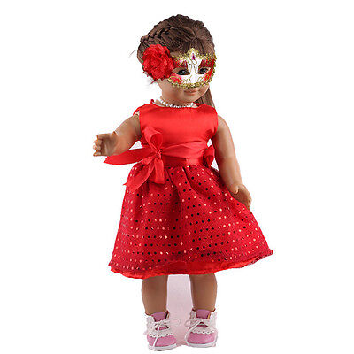 Fashion Red Dress Sequins Clothes For 18 Inch Doll Toy Girl Party Dress.