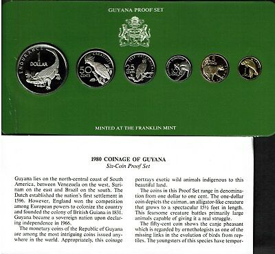 Guyana 6-Coin Proof Set 1980 Original Case Only 863 Sets Issued Nice Wildlife
