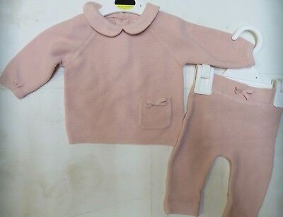 Baby girl outfit knitted set M & S 1 3 6 9 months pink cardigan trouser NEW