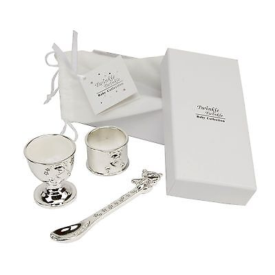 Twinkle Twinkle Silver Plated Egg Cup Spoon Gift Set Gift Christening Baby Gift