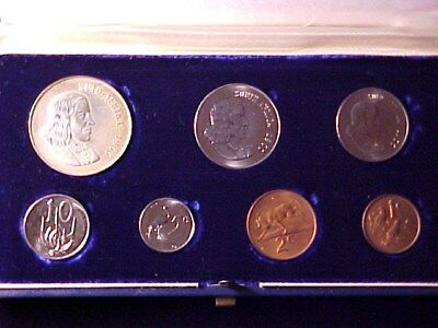 South Africa 7-Coin Proof Set 1966 Nice In Case With Silver Rand Coin