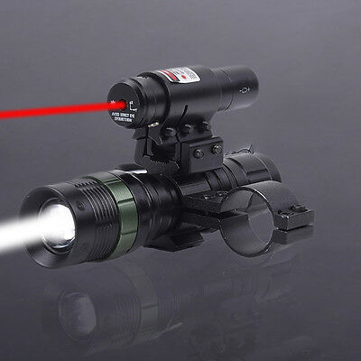 Tactical Red Dot Laser CREE LED Zoomable Flashlight Sight Rifle Mount Ring Scope