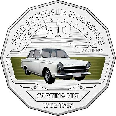 2017 RAM 50c UNCIRCULATED COLOURED COIN FORD CLASSICS - 1962 - 1967 CORTINA MKI