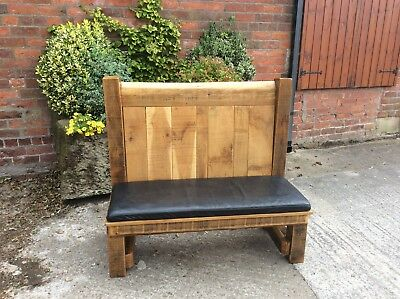 Stunning Rustic Solid Pitch Pine Settle / Church Pew Bench..... ( Very Heavy )